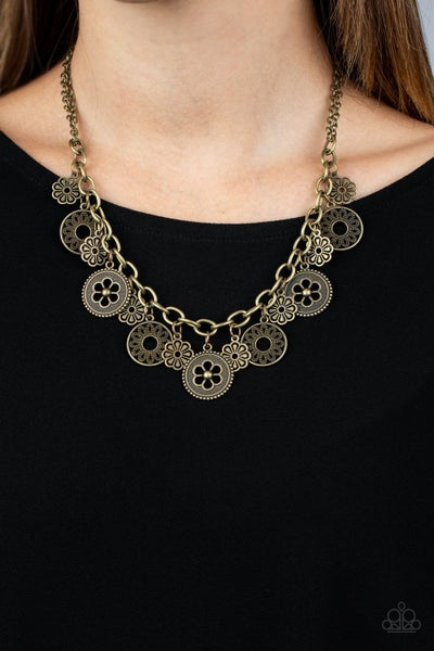 Meadow Masquerade Brass Necklace - Sparkle with Suzanna