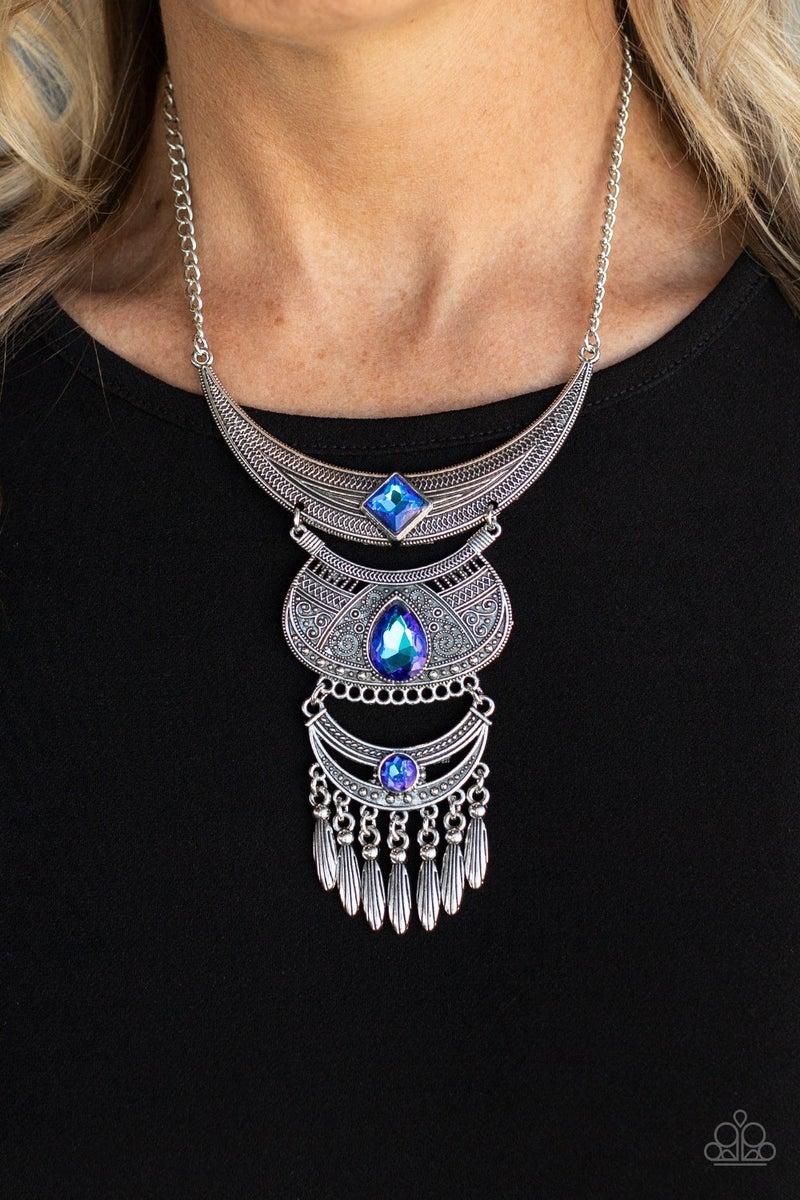 Lunar Enchantment Blue Iridescent Necklace - PREORDER