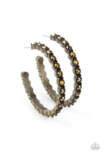Rhinestone Studded Sass Brass Earring