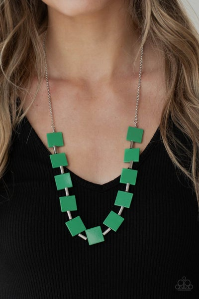 Hello, Material Girl Green Necklace - Sparkle with Suzanna