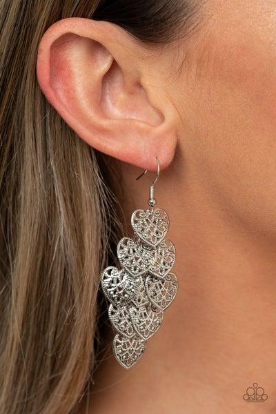 Shimmery Soulmates Silver Heart Earrings - PRECLAIM