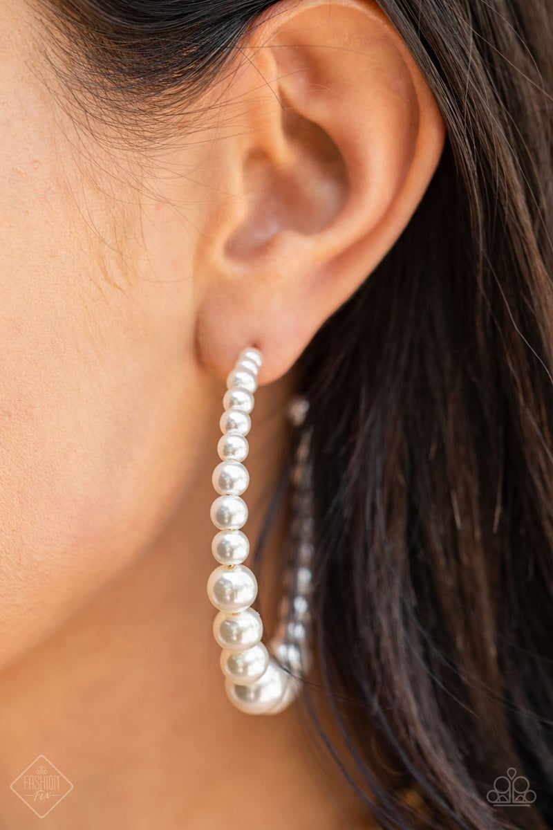 Glamour Graduate White Pearl Hoops - PREORDER August FF