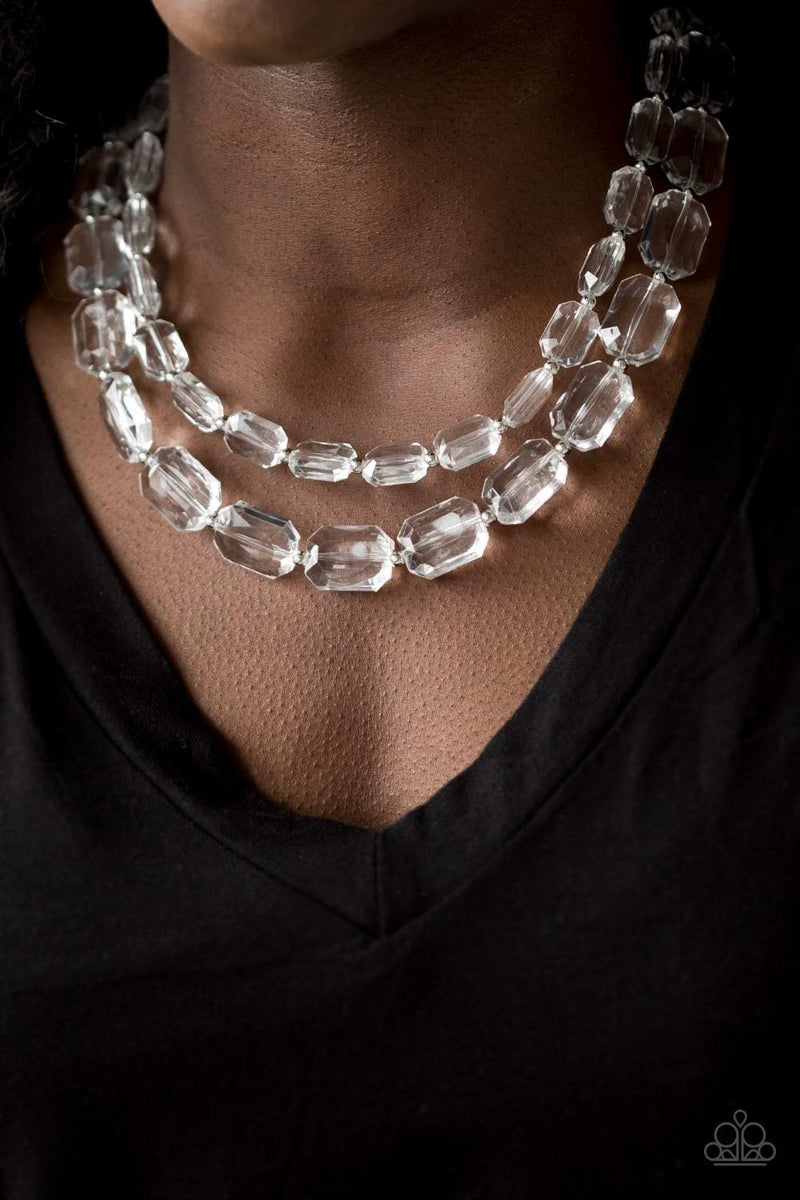 Ice Bank White Necklace - Sparkle with Suzanna