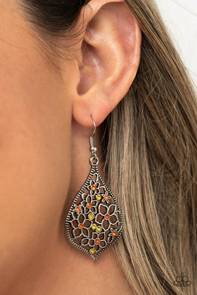 Full Out Florals Orange and Yellow Earrings