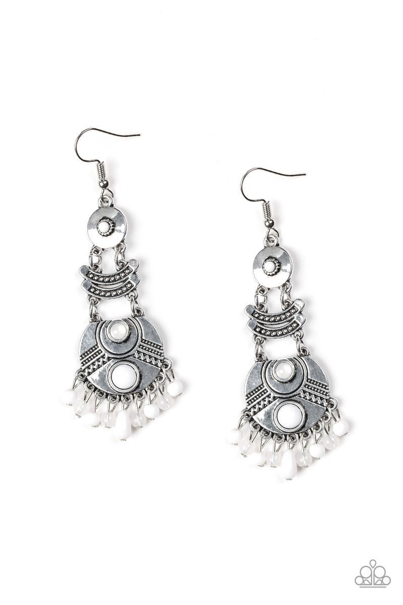 Tropic Tribe White Earring - Sparkle with Suzanna
