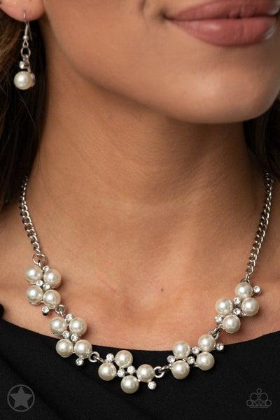 Paparazzi Love Story - White Pearls & Rhinestones - Necklace & Earrings - Blockbuster