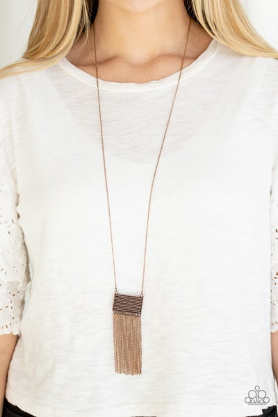 Totally Tassel Copper Necklace - Sparkle with Suzanna