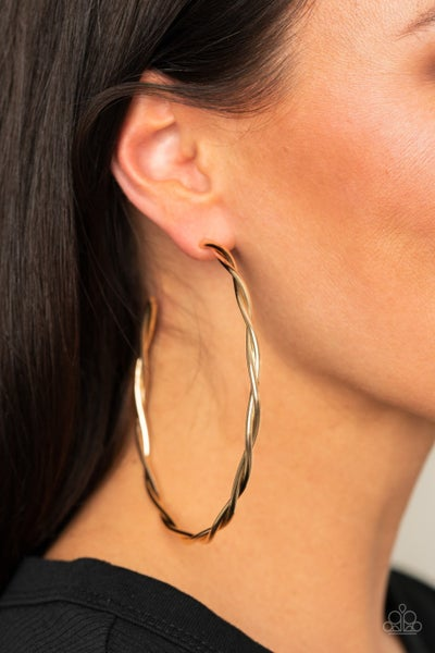 Out of Control Curves Gold Post Hoop Earring