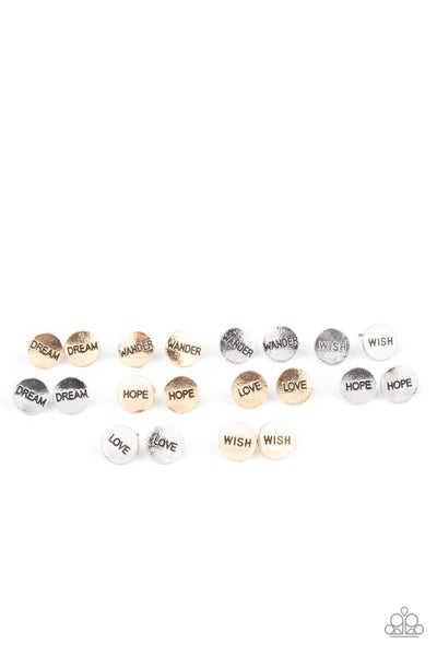 5 Pairs of Starlet Shimmer INSPIRATIONAL Words Post Earrings