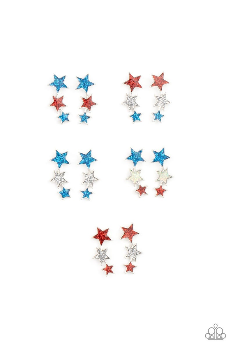 Starlet Shimmer Red, White and Blue Star Earrings - 5 pairs -SOLD OUT