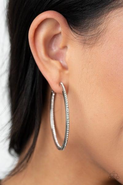 Marquee Magic White Hoop Earring