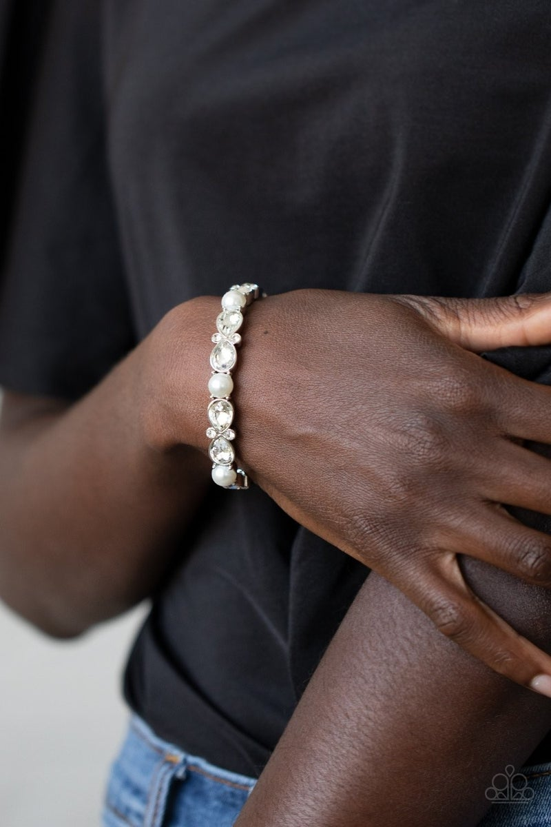 Frosted Finery White Bracelet