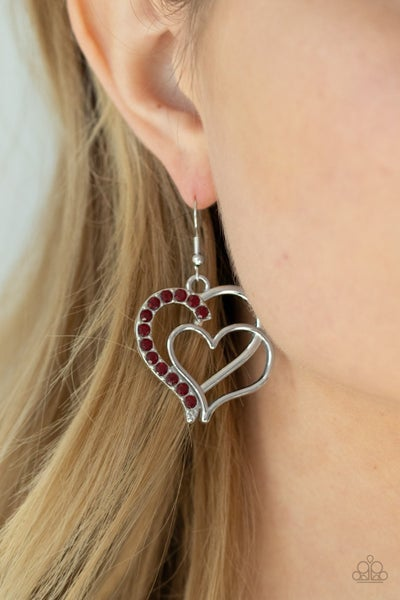 Double the Heartache Red Earring