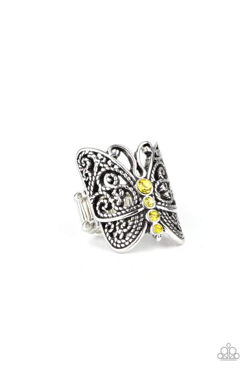 Butterfly Bling Yellow Ring - Sparkle with Suzanna
