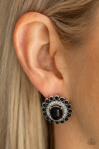 Floral Flamboyance Black Post Earring