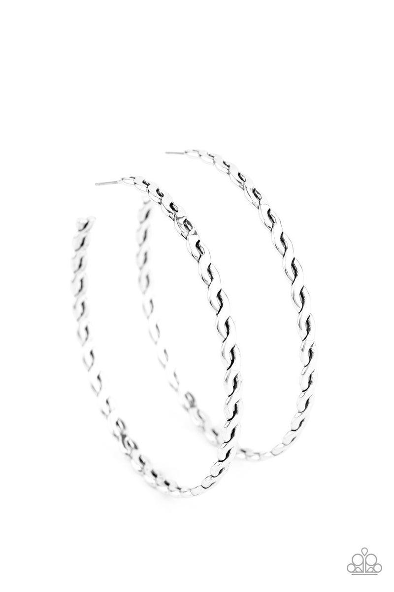 Infinite Twist Silver Hoop Earing