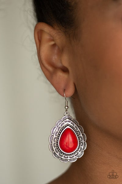 Mountain Mover Red Earring