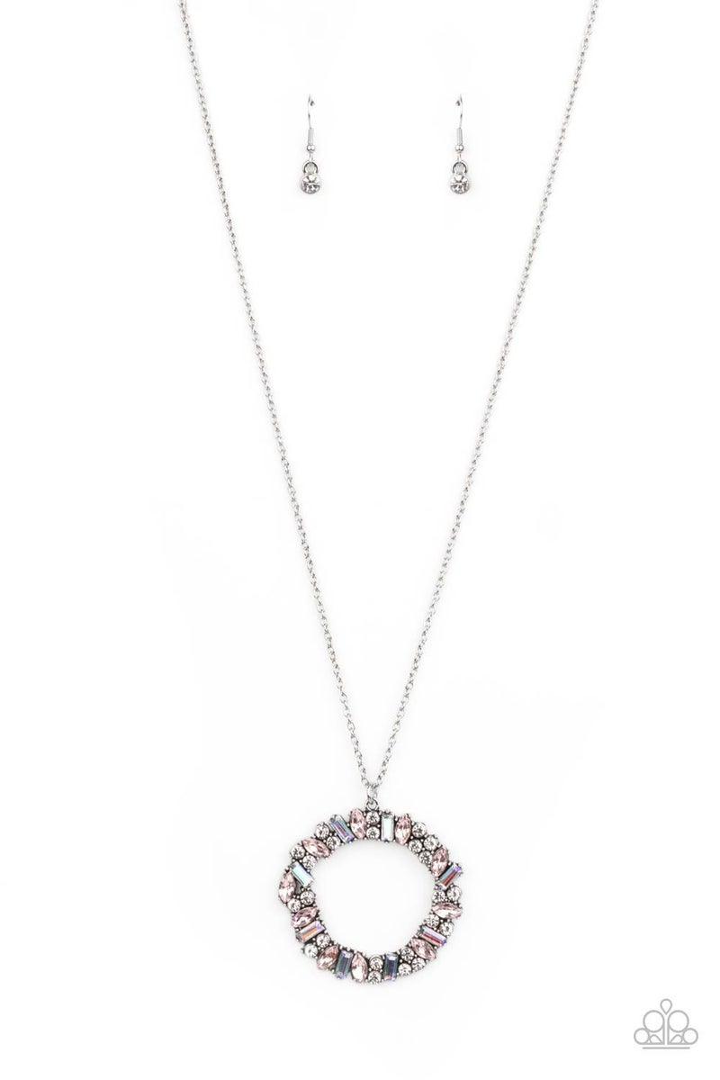 Wreathed in Wealth Pink Unicorn Rhinestone Necklace - PREORDER