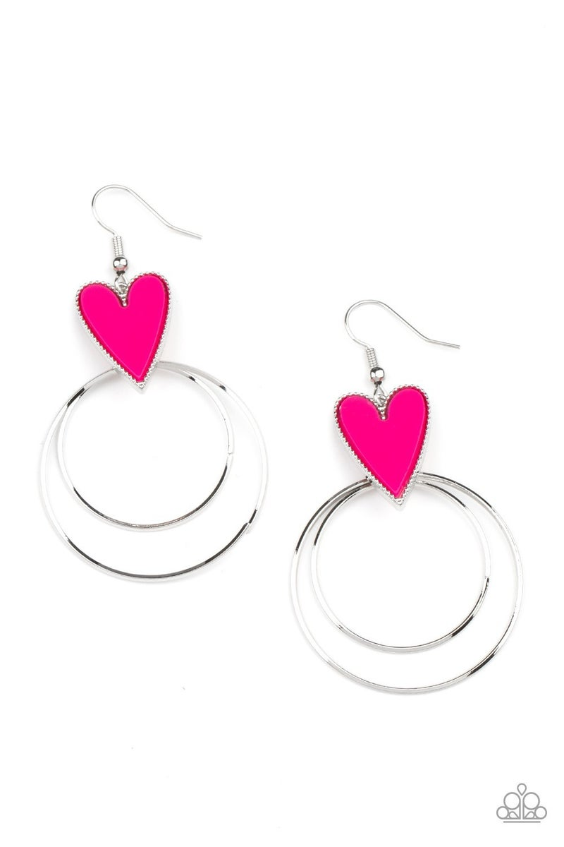 Happily Ever Hearts Pink Earring