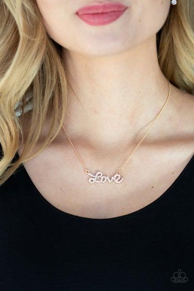 Head Over Heels In Love Gold Necklace