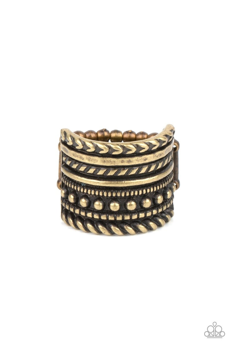 Stacked Odds Brass Ring
