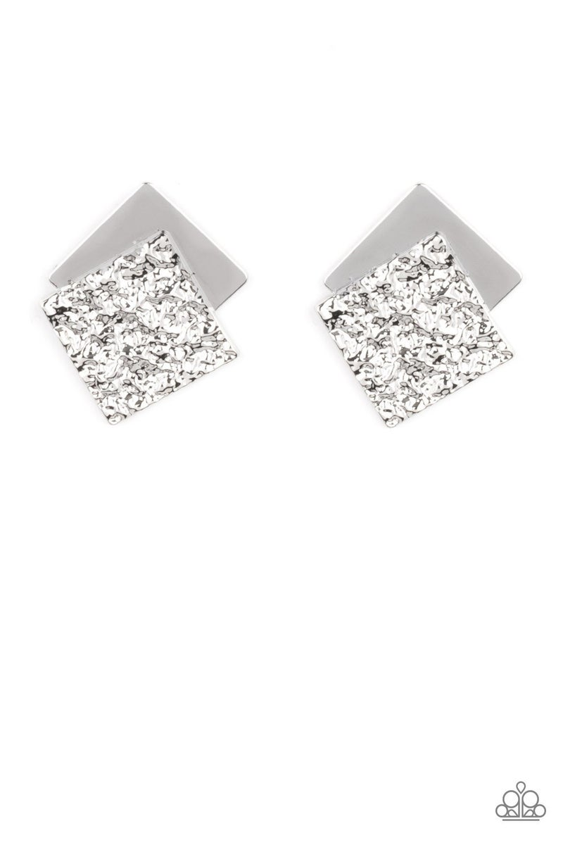 Square With Style Silver Earring