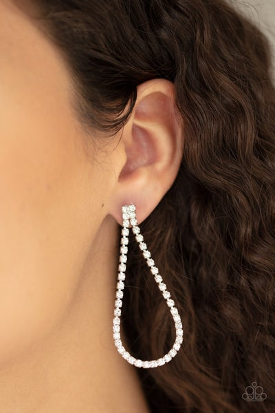 Diamond Drops White Post Earring