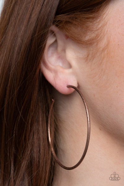Rustic Roundabout Copper Hoop Earring