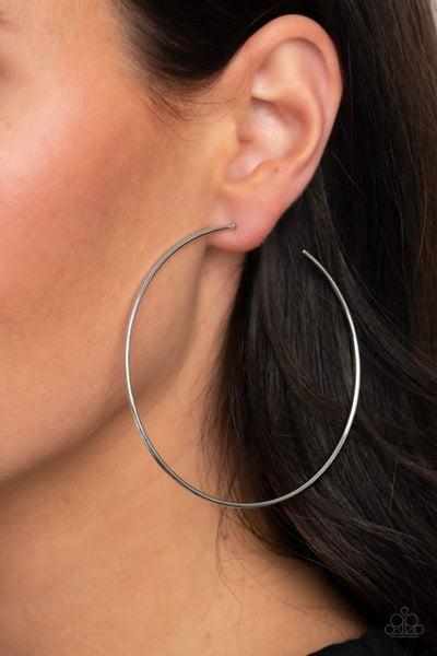 Very Curvaceous Silver Hoop Earring