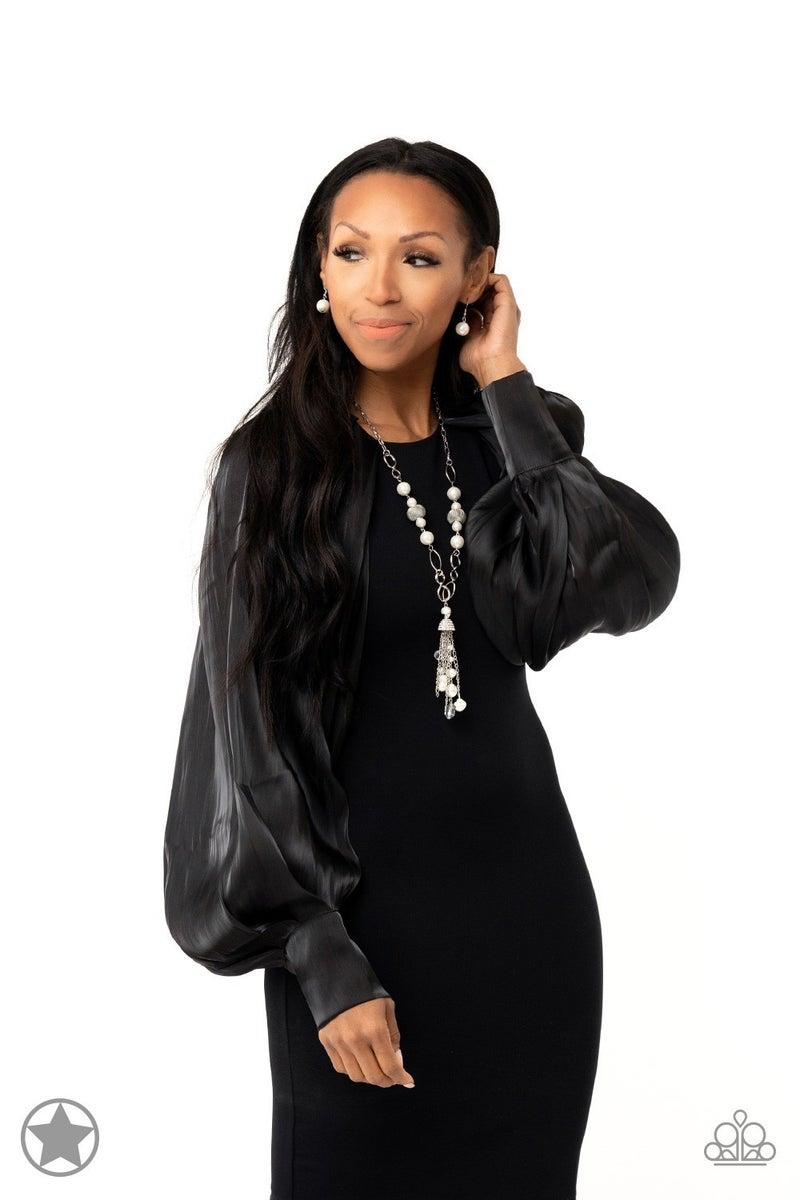 Designated Diva White Necklace - Sparkle with Suzanna