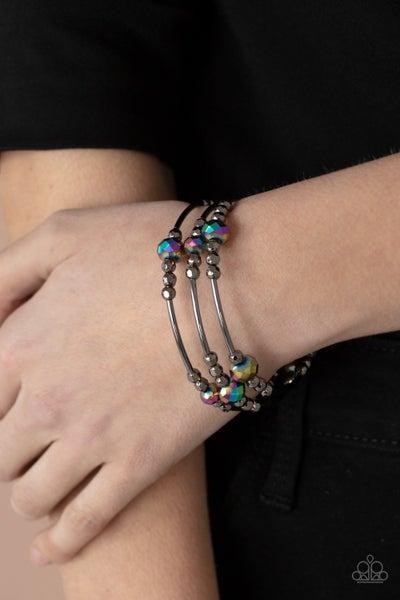 Showy Shimmer Oil Spill Bead Bracelet
