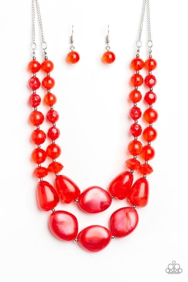Beach Glam Red Necklace - Sparkle with Suzanna