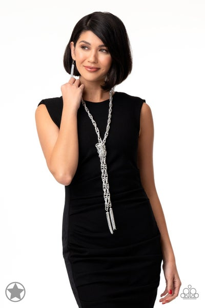 SCARFed for Attention Silver Blockbuster Necklace - Sparkle with Suzanna