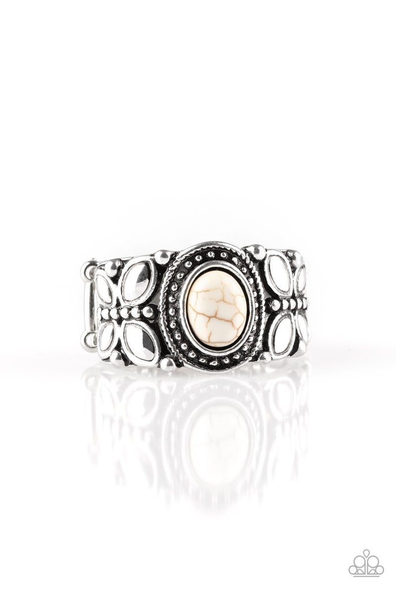 Butterfly Belle White Crackle Ring