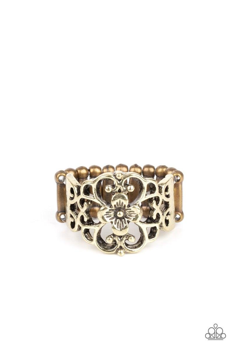 Fanciful Flower Gardens Brass Ring