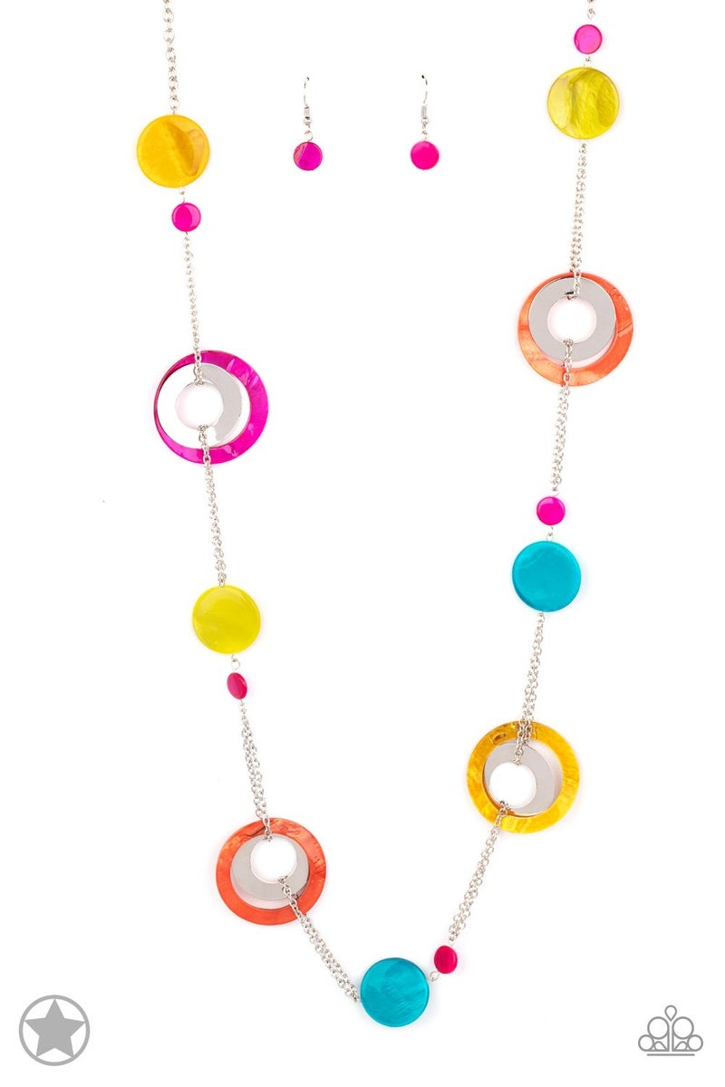 Kaleidoscopically Captivating Multi Blockbuster Necklace - Sparkle with Suzanna