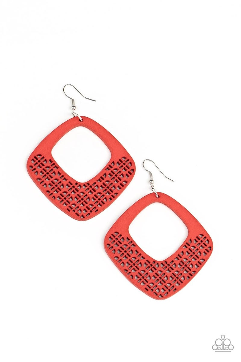 WOOD You Rather Red Earring - Sparkle with Suzanna