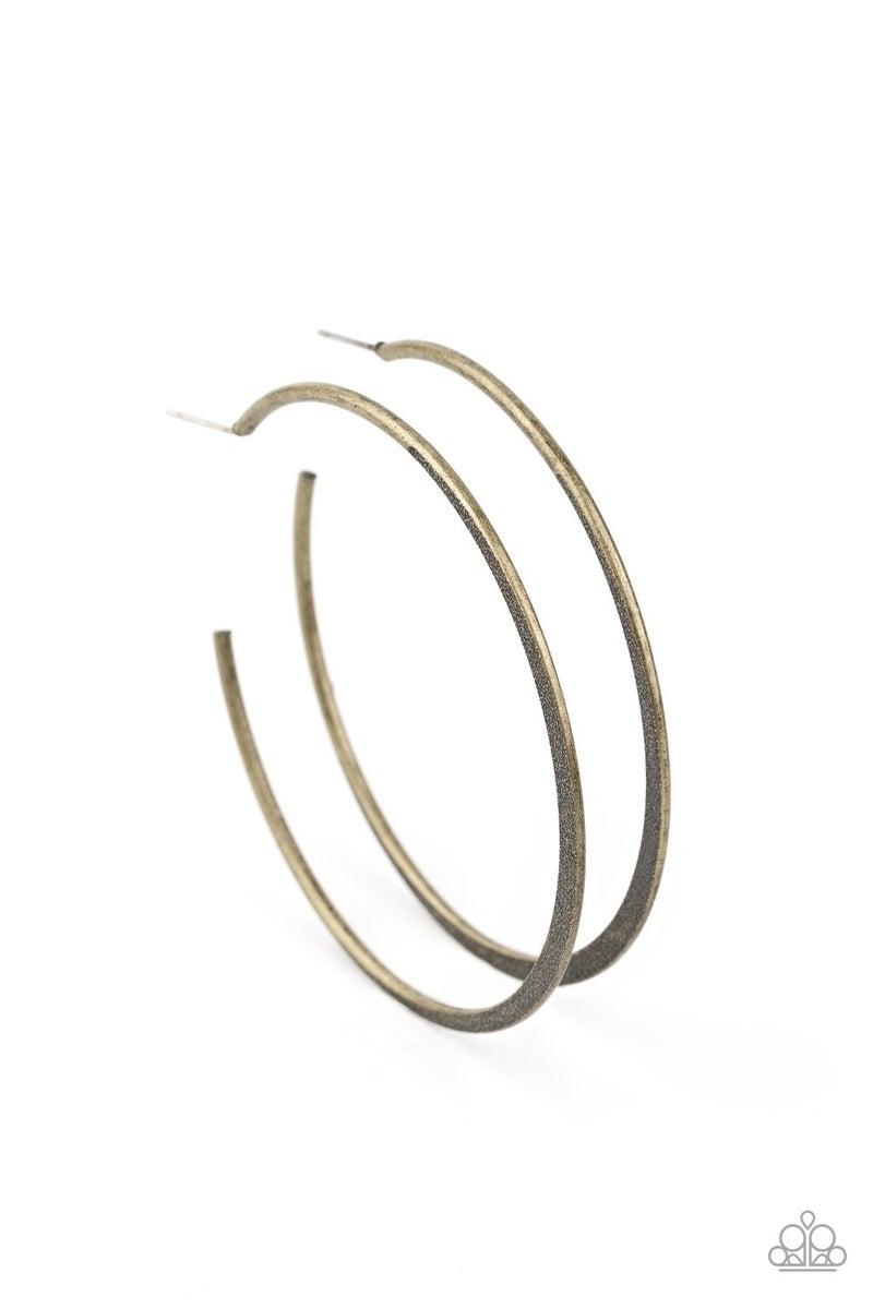 Flat Spin Brass Hoop Earring
