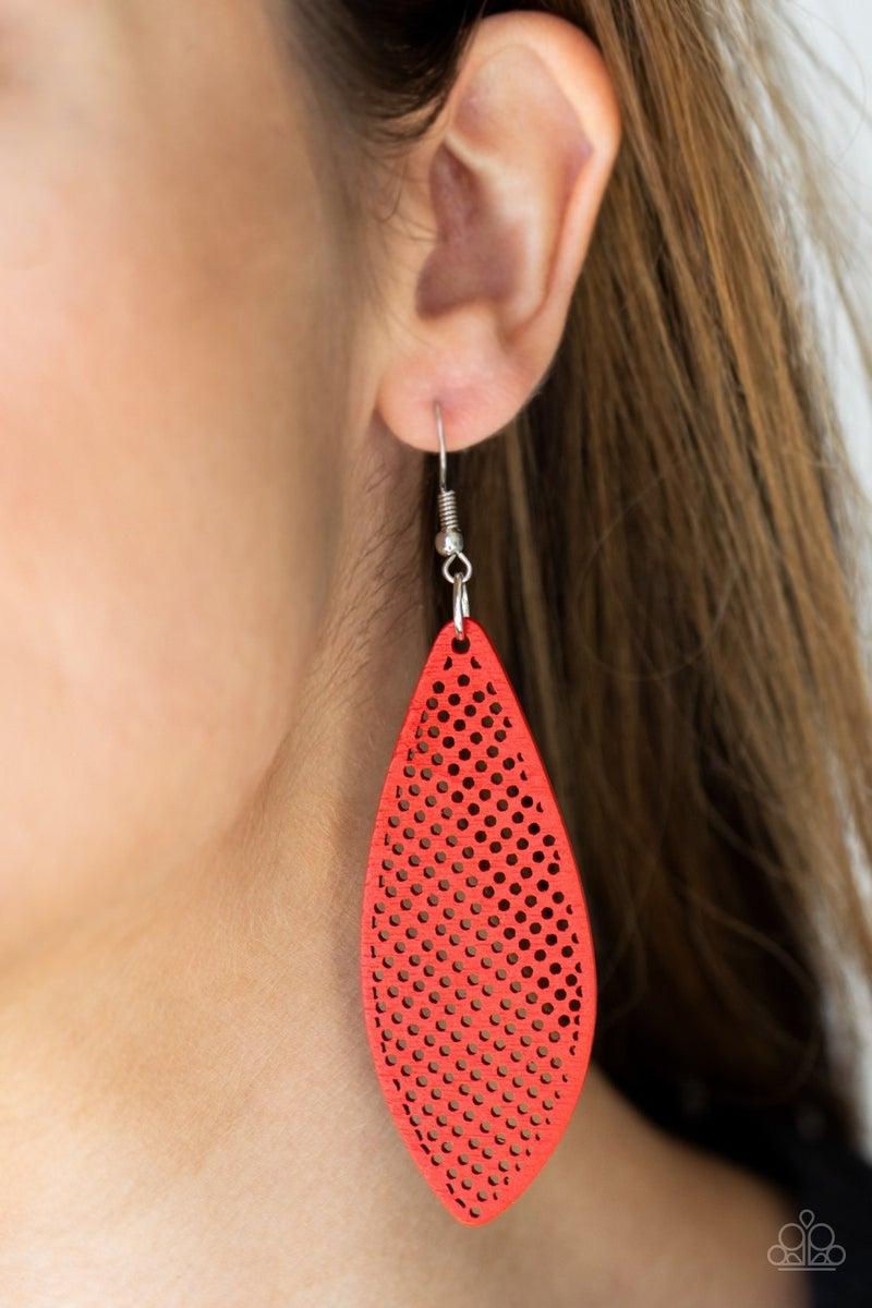 Surf Scene Red Wood Earring