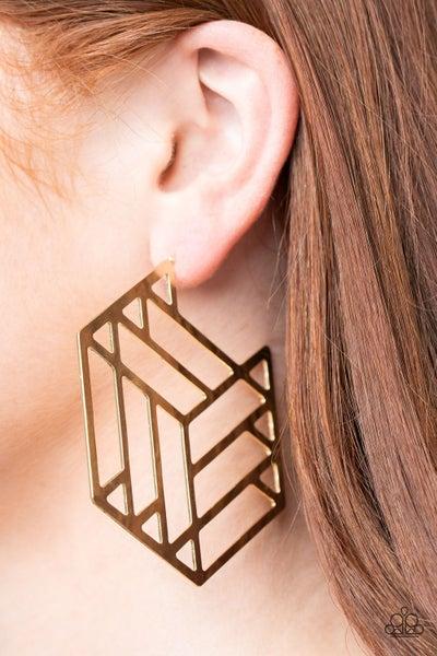 Gotta Get GEO-ing Gold Hoop Earring