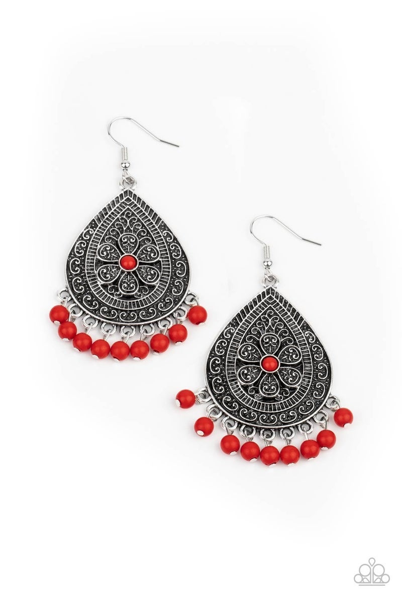 Blossoming Teardrops Red Earring