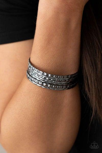 Back-To-Back Stacks Gunmetal Bracelet
