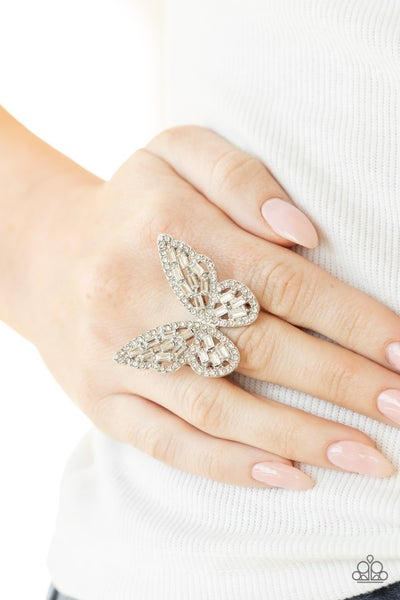 Flauntable Flutter White Ring - Sparkle with Suzanna
