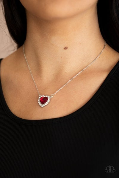 Out of the Glittery-ness of your Heart Red Necklace