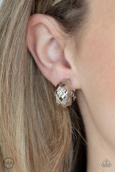 Wrought with Edge Silver Clip-On Earring