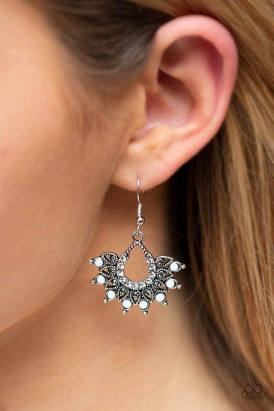 Gypsy Glitz White Earring