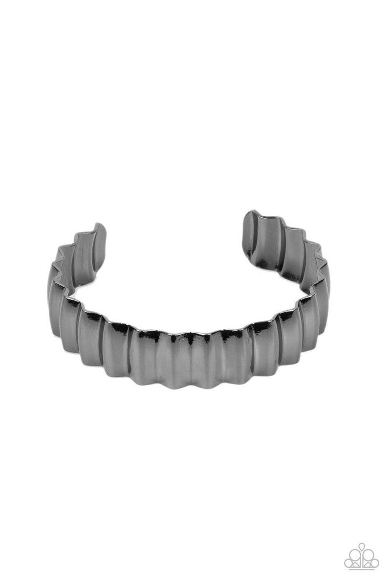 Across The HEIR-Waves Gun Metal Bracelet
