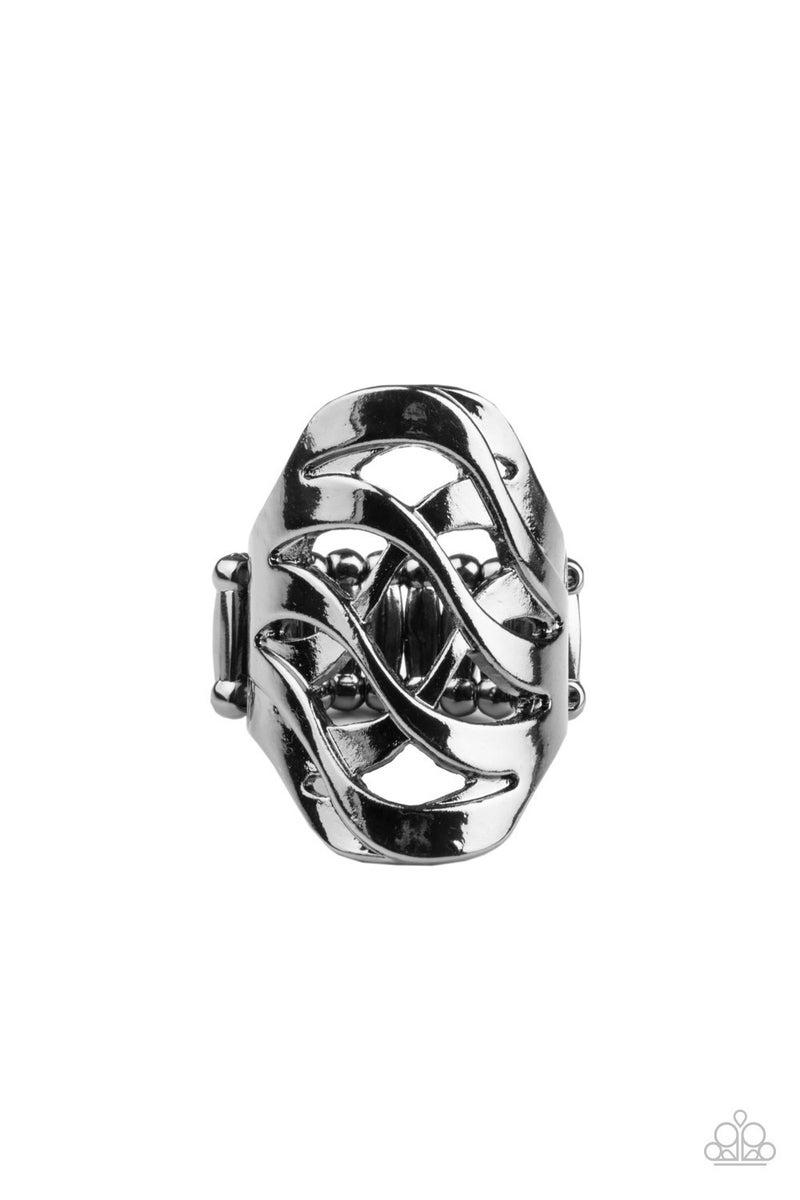 Open Fire Gun Metal Ring