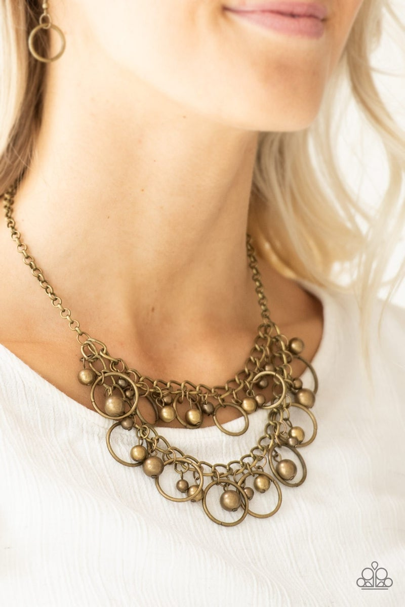 Warning Bells Brass Necklace