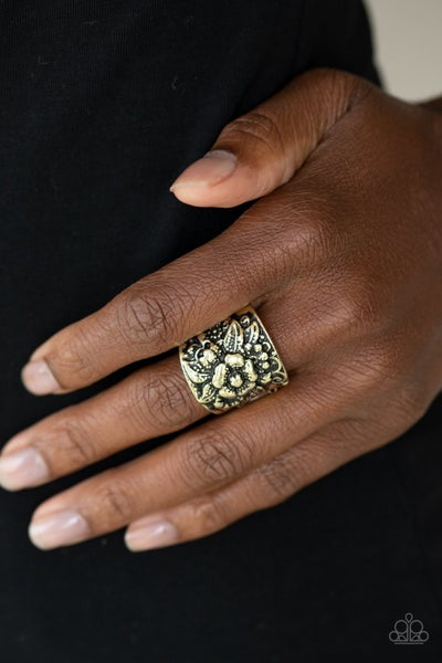 Tropical Bloom Brass Ring